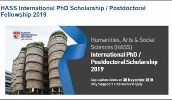 HASS International PhD Scholarship/Postdoctoral Fellowship 2019